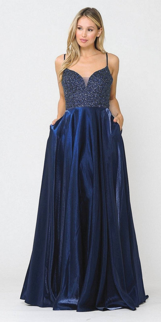 Navy Blue Long Prom Dress Embellished with Pockets
