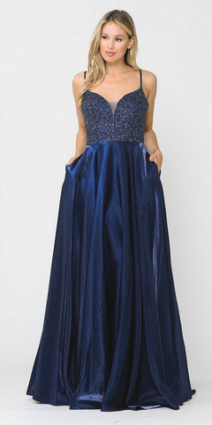 A-Line Beaded Lace Bodice Dress Navy Blue Long Tulle Skirt