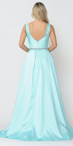 Poly USA 8678 Mint Sleeveless Long Prom Dress Embellished Waist