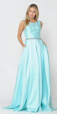 Off-White/Silver Cold-Shoulder Prom Ball Gown with Pockets