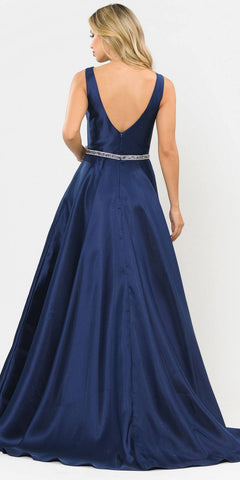 Poly USA 8678 Navy Blue Sleeveless Long Prom Dress Embellished Waist