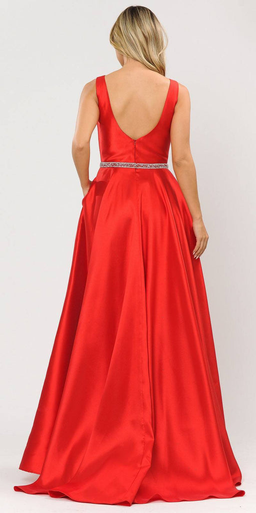 Poly USA 8678 Red Sleeveless Long Prom Dress Embellished Waist