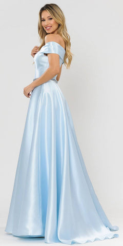 Poly USA 8680 Blue Off-Shoulder A-Line Long Prom Dress with Pockets