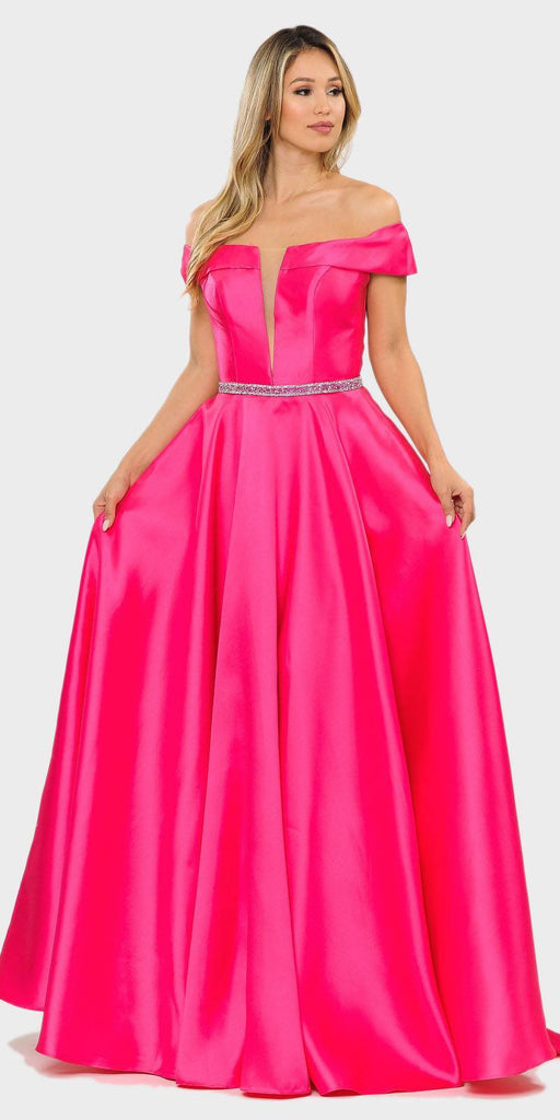 Poly USA 8680 Fuchsia Off-Shoulder A-Line Long Prom Dress with Pockets