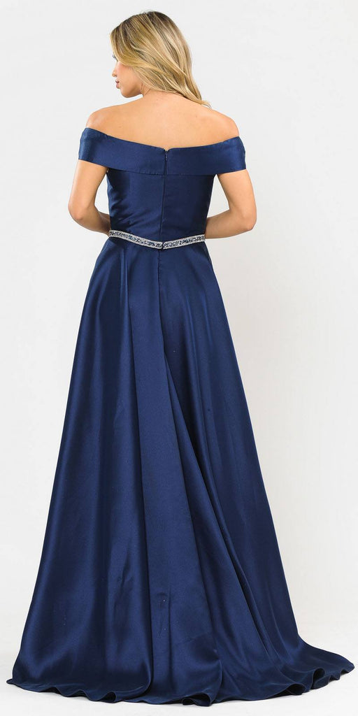 Poly USA 8680 Navy Blue Off-Shoulder A-Line Long Prom Dress with Pockets