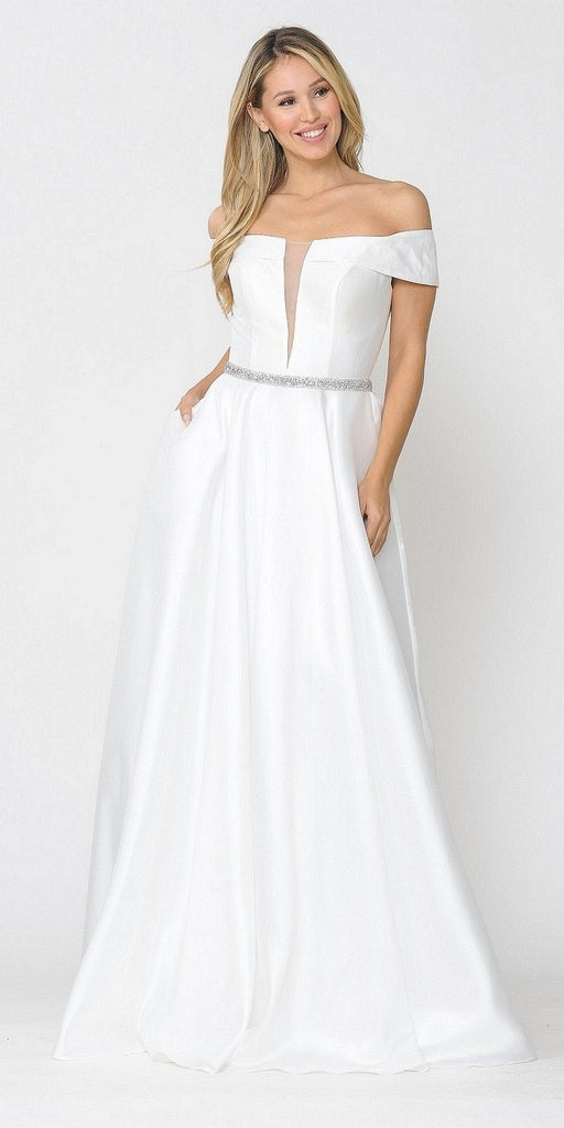 Poly USA 8680 White Off-Shoulder A-Line Long Prom Dress with Pockets