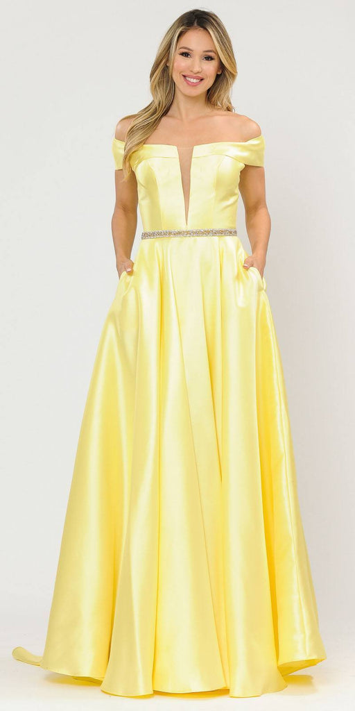 Poly USA 8680 Yellow Off-Shoulder A-Line Long Prom Dress with Pockets