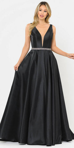 Poly USA 8682 V-Neck and Back Black Long Prom Dress with Pockets