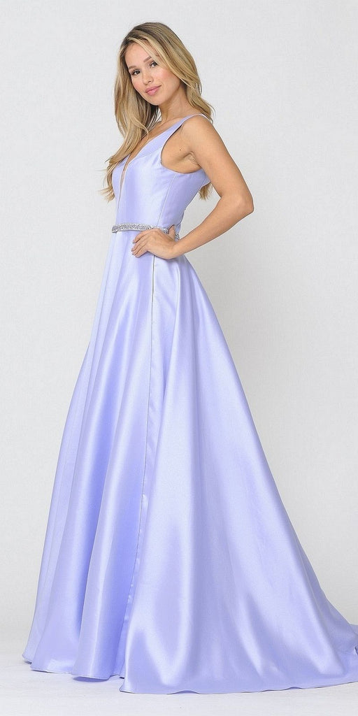 Poly USA 8682 V-Neck and Back Lilac Long Prom Dress with Pockets