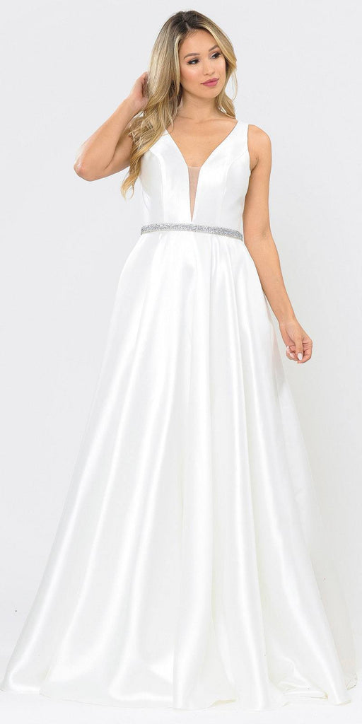 Poly USA 8682 V-Neck and Back Off White Long Prom Dress with Pockets