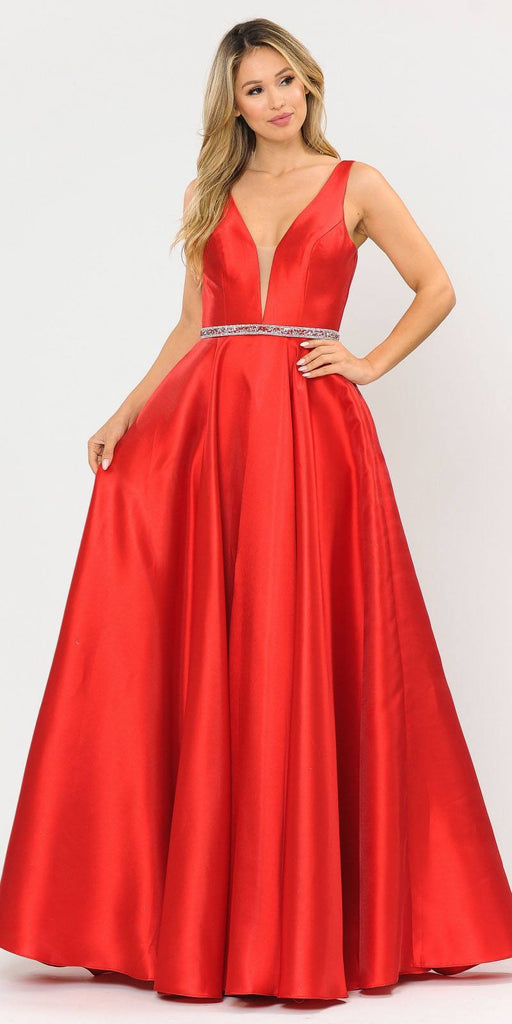 Poly USA 8682 V-Neck and Back Red Long Prom Dress with Pockets