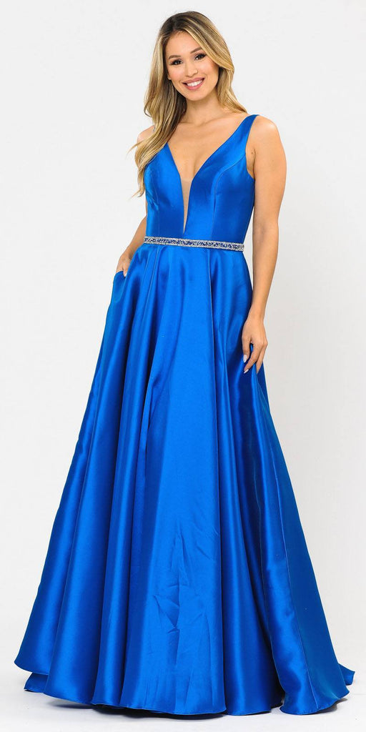 Poly USA 8682 V-Neck and Back Royal Blue Long Prom Dress with Pockets