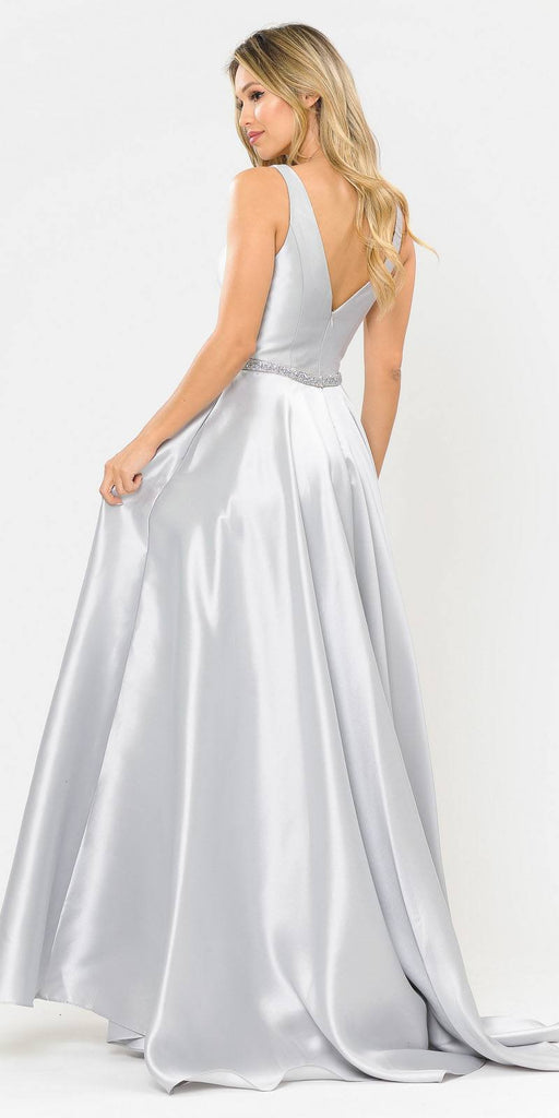 Poly USA 8682 V-Neck and Back Silver Long Prom Dress with Pockets