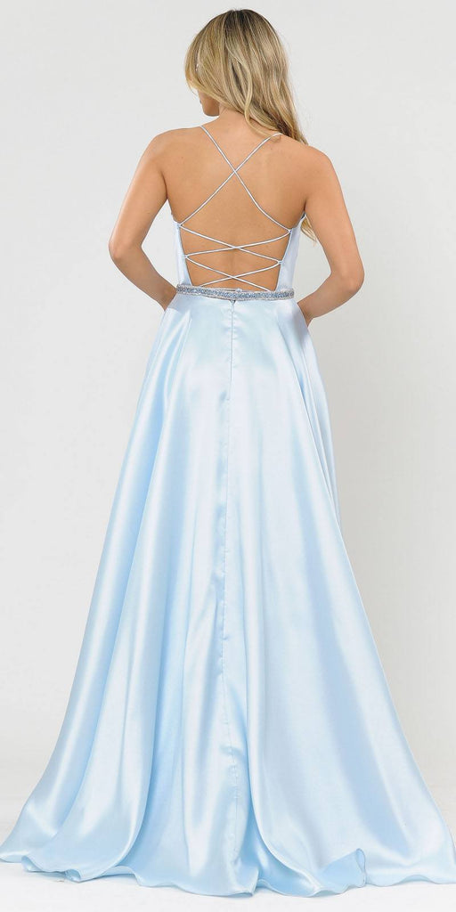Poly USA 8684 Blue Long Prom Dress with Criss-Cross Lace-Up Back