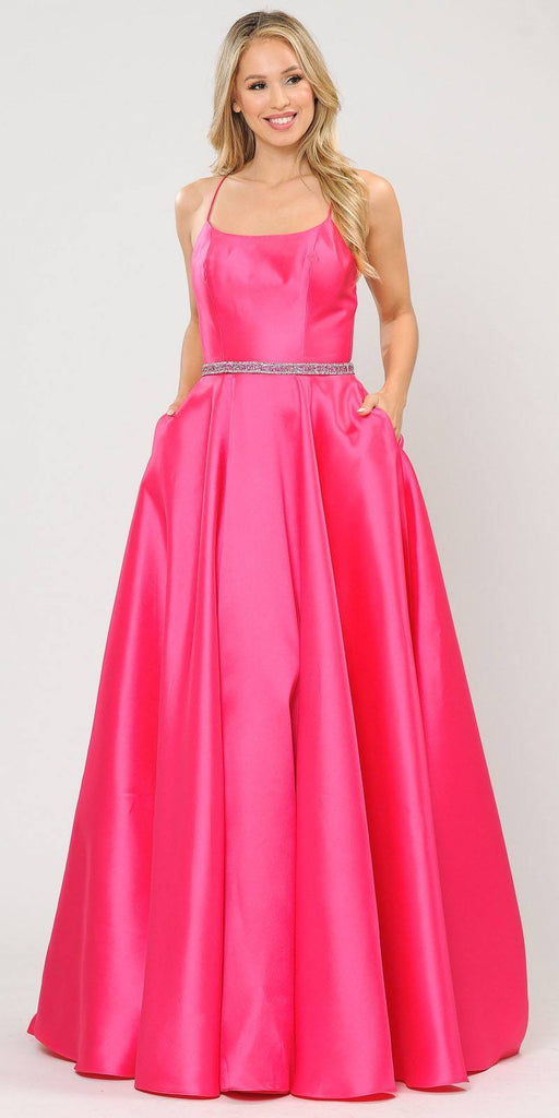 Poly USA 8684 Fuchsia Long Prom Dress with Criss-Cross Lace-Up Back