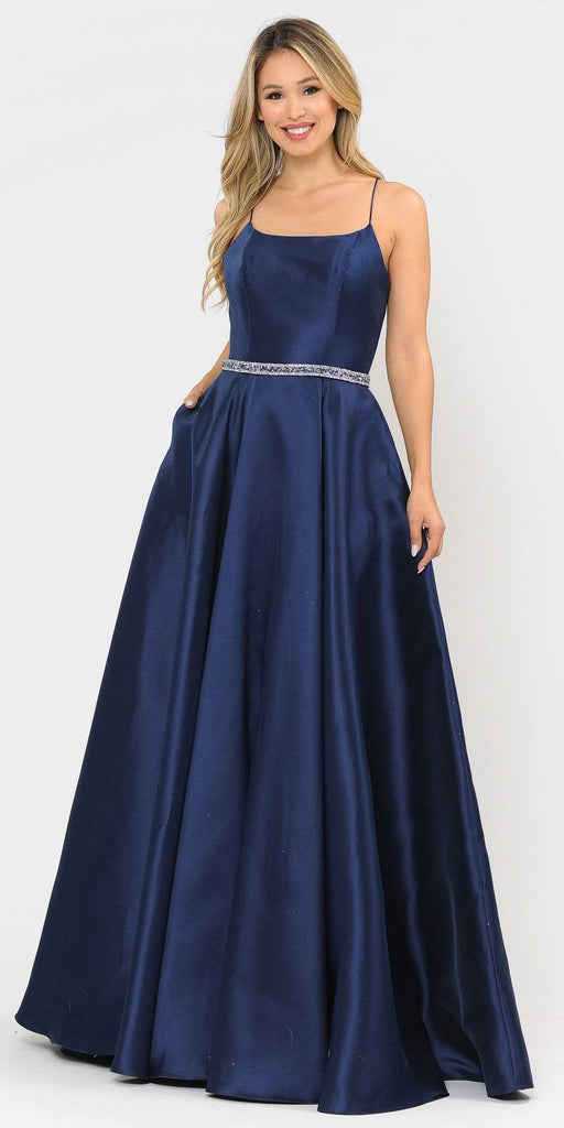 Poly USA 8684 Navy Blue Long Prom Dress with Criss-Cross Lace-Up Back