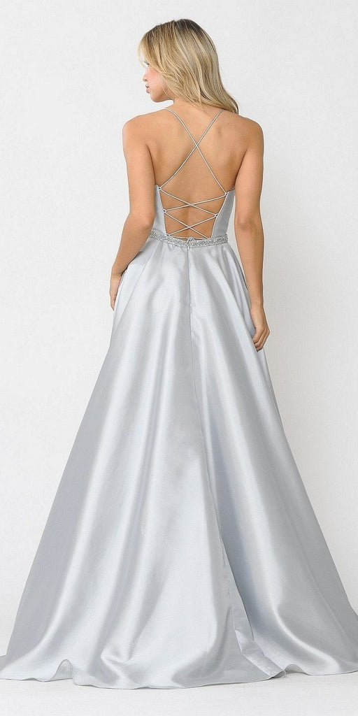 Poly USA 8684 Silver Long Prom Dress with Criss-Cross Lace-Up Back