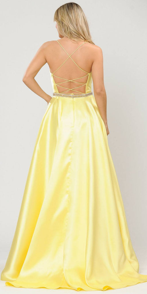 Poly USA 8684 Yellow Long Prom Dress with Criss-Cross Lace-Up Back