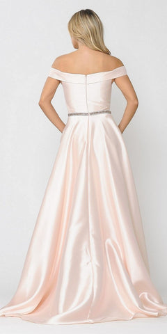 Silky Satin Off-Shoulder Long Prom Dress Blush with Pockets