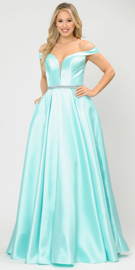 Poly USA 8686 Silky Satin Off-Shoulder Long Prom Dress Mint with Pockets