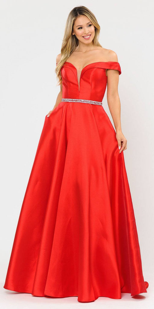 Poly USA 8686 Silky Satin Off-Shoulder Long Prom Dress Red with Pockets