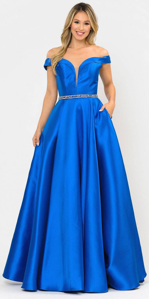 Poly USA 8686 Silky Satin Off-Shoulder Long Prom Dress Royal Blue with Pockets