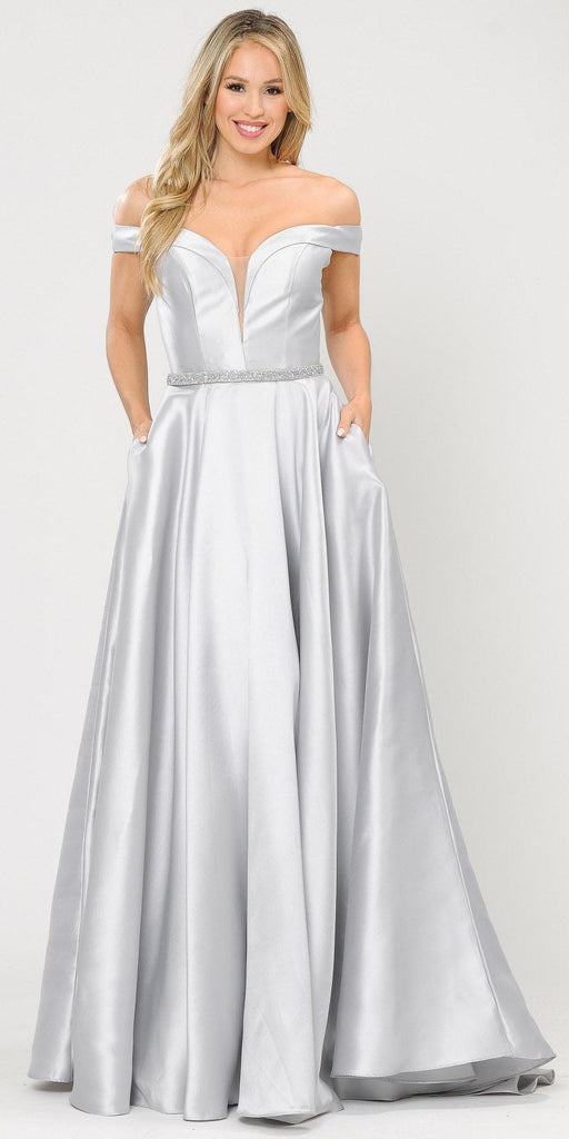 Poly USA 8686 Silky Satin Off-Shoulder Long Prom Dress Silver with Pockets