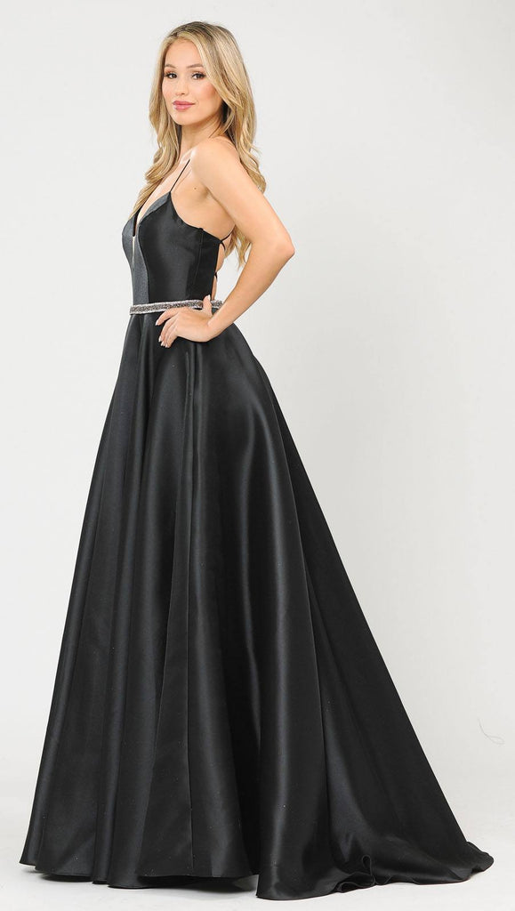 Poly USA 8688 Halter Criss-Cross Back Long Black Prom Dress with Pockets