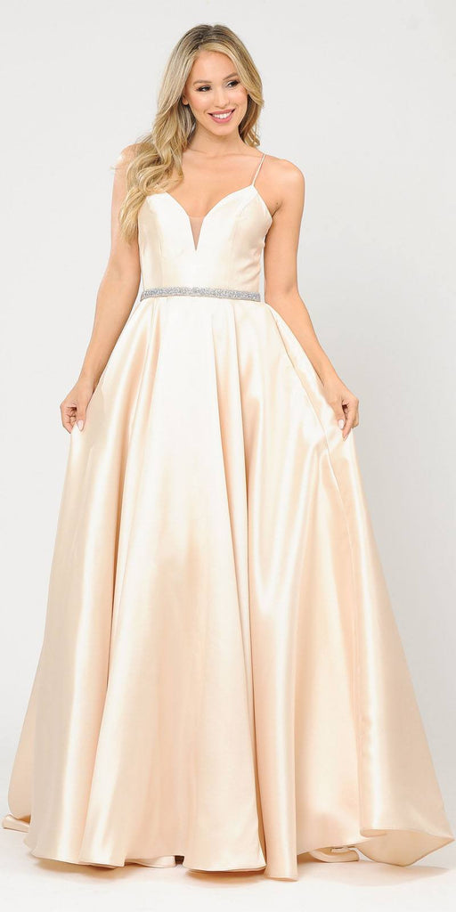 Poly USA 8688 Halter Criss-Cross Back Long Champagne Prom Dress with Pockets