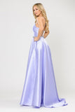 Poly USA 8688 Halter Criss-Cross Back Long Lilac  Prom Dress with Pockets