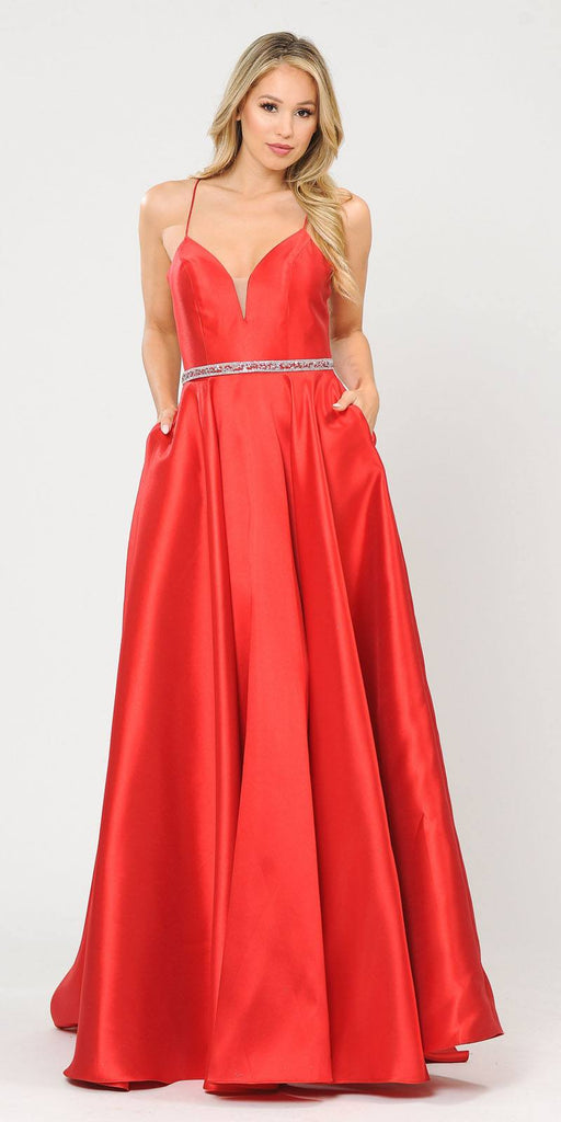 Poly USA 8688 Halter Criss-Cross Back Long Red Prom Dress with Pockets