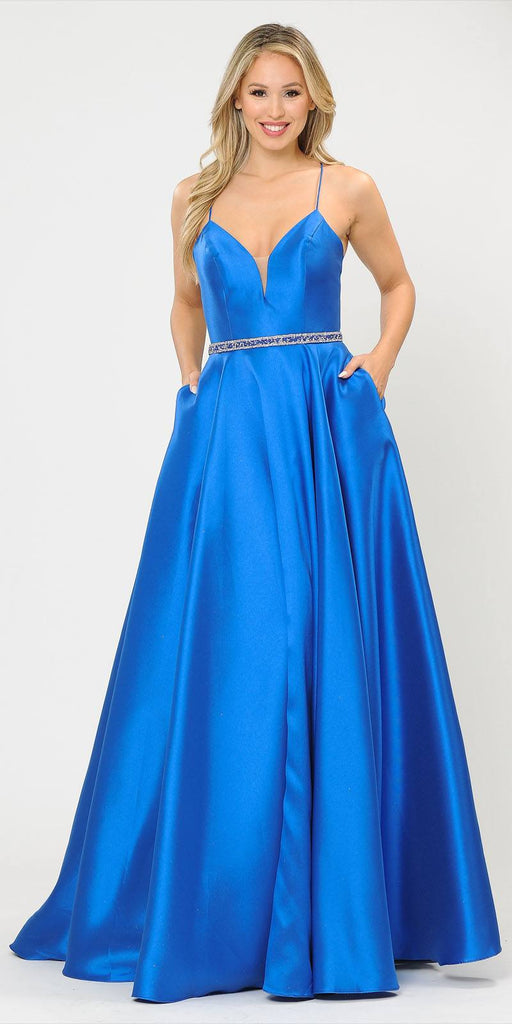 Poly USA 8688 Halter Criss-Cross Back Long Royal Blue Prom Dress with Pockets