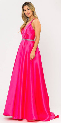 Poly USA 8690 V-Neck Long Prom Dress Fuchsia with Pockets