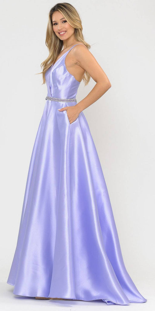Poly USA 8690 V-Neck Long Prom Dress Lilac with Pockets