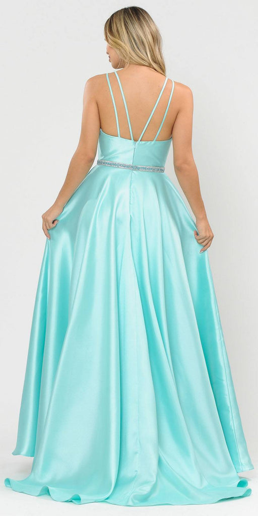 Poly USA 8690 V-Neck Long Prom Dress Mint with Pockets