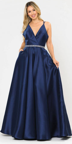 Poly USA 8690 V-Neck Long Prom Dress Navy Blue with Pockets