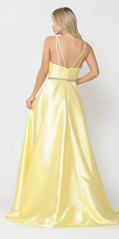 V-Neck Long Prom Dress Yellow with Pockets