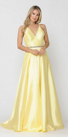 Long A-Line Gown Champagne With Deep Sweetheart Neckline And Leg Slit