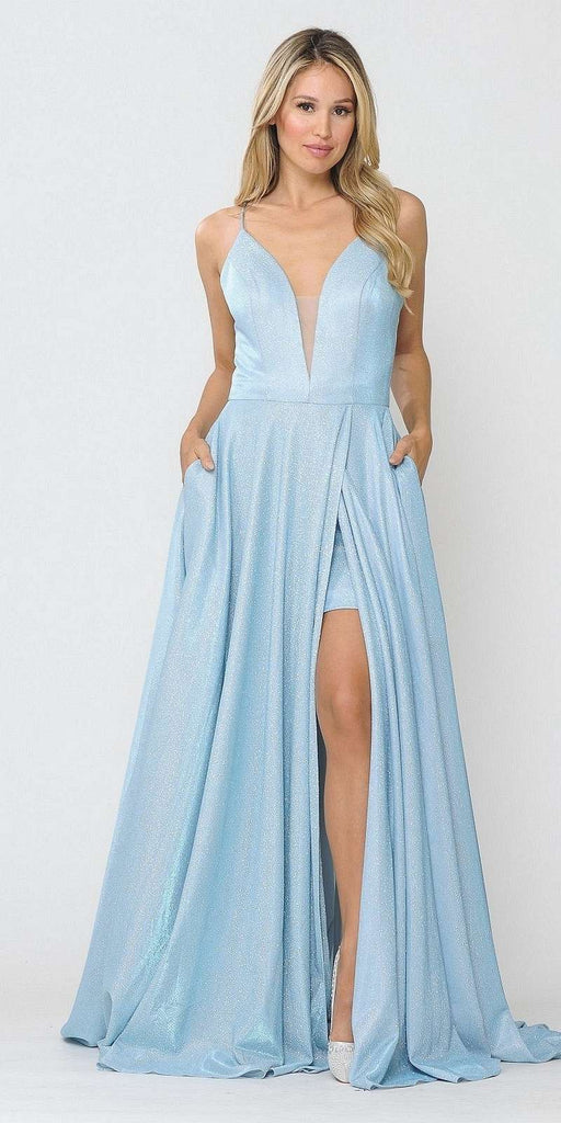 Romper Long Formal Dress Lace-Up Back Blue