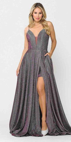 Mauve V-Neck Short Homecoming Dress with Pockets