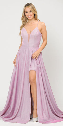 Romper Long Formal Dress Lace-Up Back Pink/Lilac
