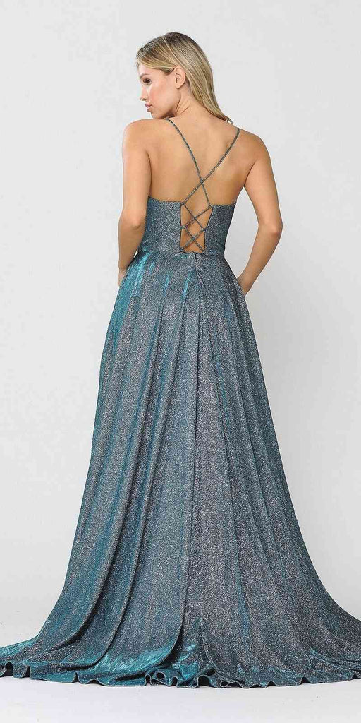 Romper Long Formal Dress Lace-Up Back Teal
