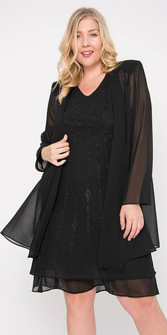 Sally Fashion 8694 Flowy Chiffon Black Dress Knee Length Long Sleeve Cardigan