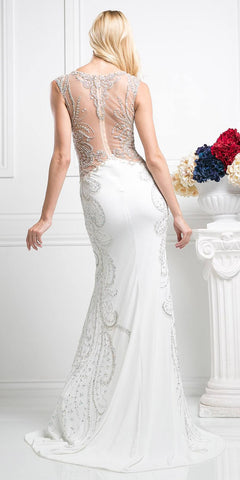 Cinderella Divine 8700 Beaded Bodice Illusion Fit and Flare Sleeveless Evening Gown Off White Nude Back View