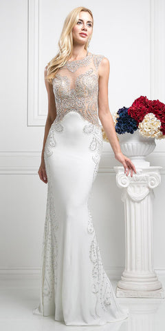 Cinderella Divine 8700 Beaded Bodice Illusion Fit and Flare Sleeveless Evening Gown Off White Nude