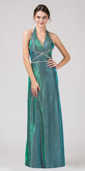 Green Halter Shimmering Long Prom Dress V-Neck