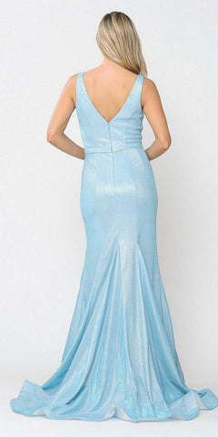 Blue Mermaid Style Long Prom Dress Sleeveless