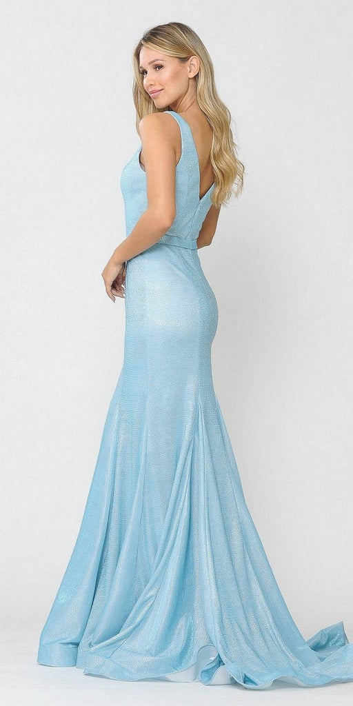Poly USA 8704 Blue Mermaid Style Long Prom Dress Sleeveless