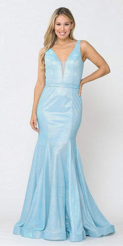 Mint Sleeveless Long Prom Dress Embellished Waist