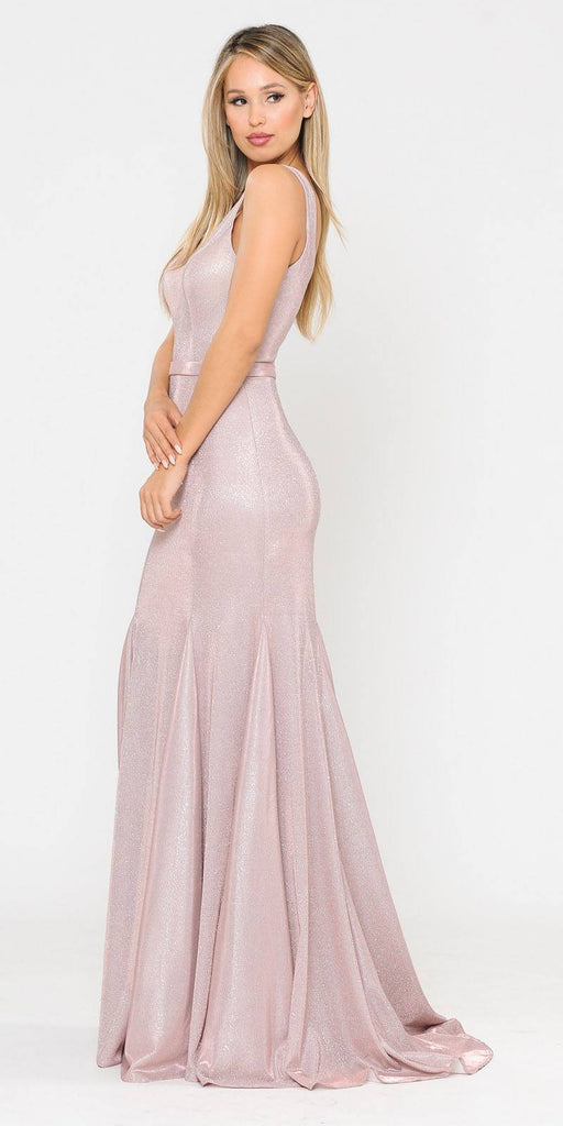 Poly USA 8704 Rose Gold Mermaid Style Long Prom Dress Sleeveless